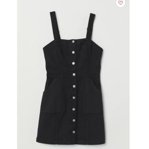 H&M Bib Overall Dress - Black/Twill